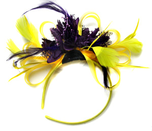Caprilite Bright Yellow & Dark Purple Feathers Fascinator on Headband