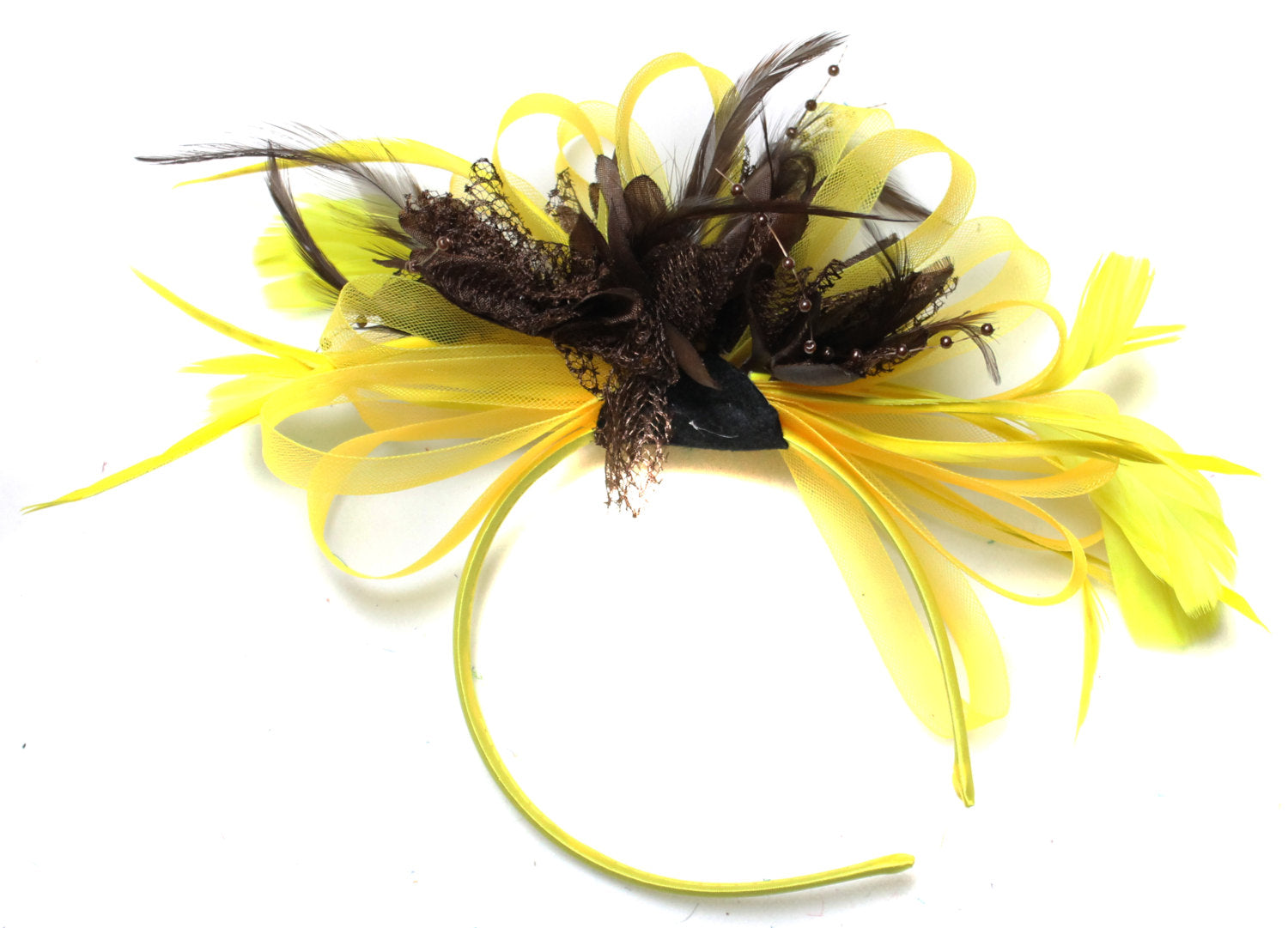 Caprilite Bright Yellow & Coffee Brown Feathers Fascinator on Headband