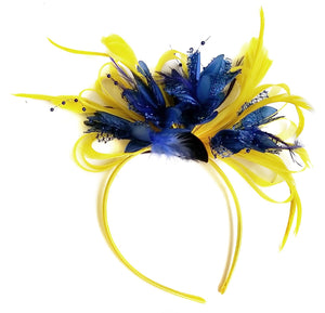 Caprilite Bright Yellow & Royal Blue Feathers Fascinator on Headband