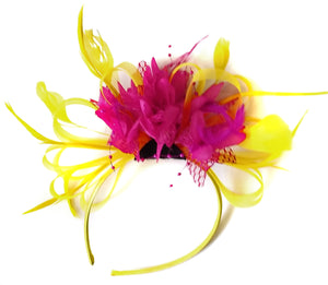 Caprilite Bright Yellow & Fuchsia Pink Feathers Fascinator on Headband