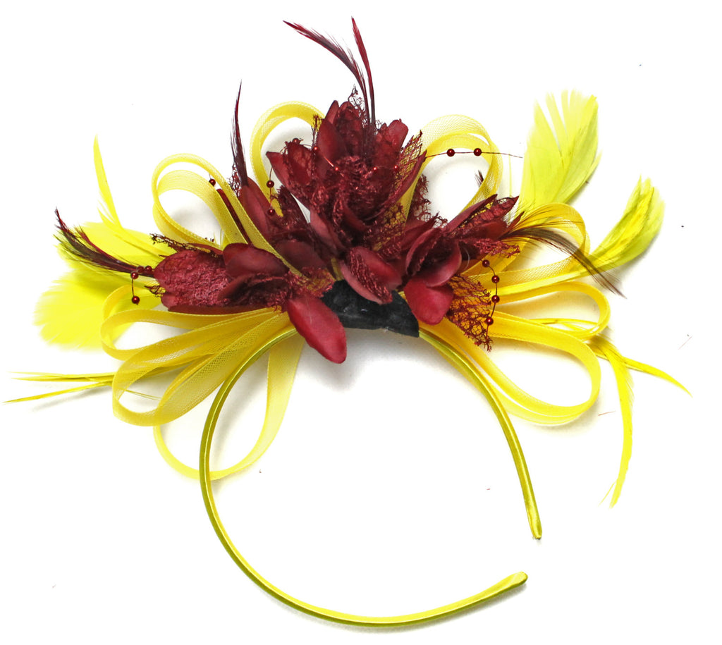 Caprilite Bright Yellow & Burgundy Wine Red Feathers Fascinator on Headband