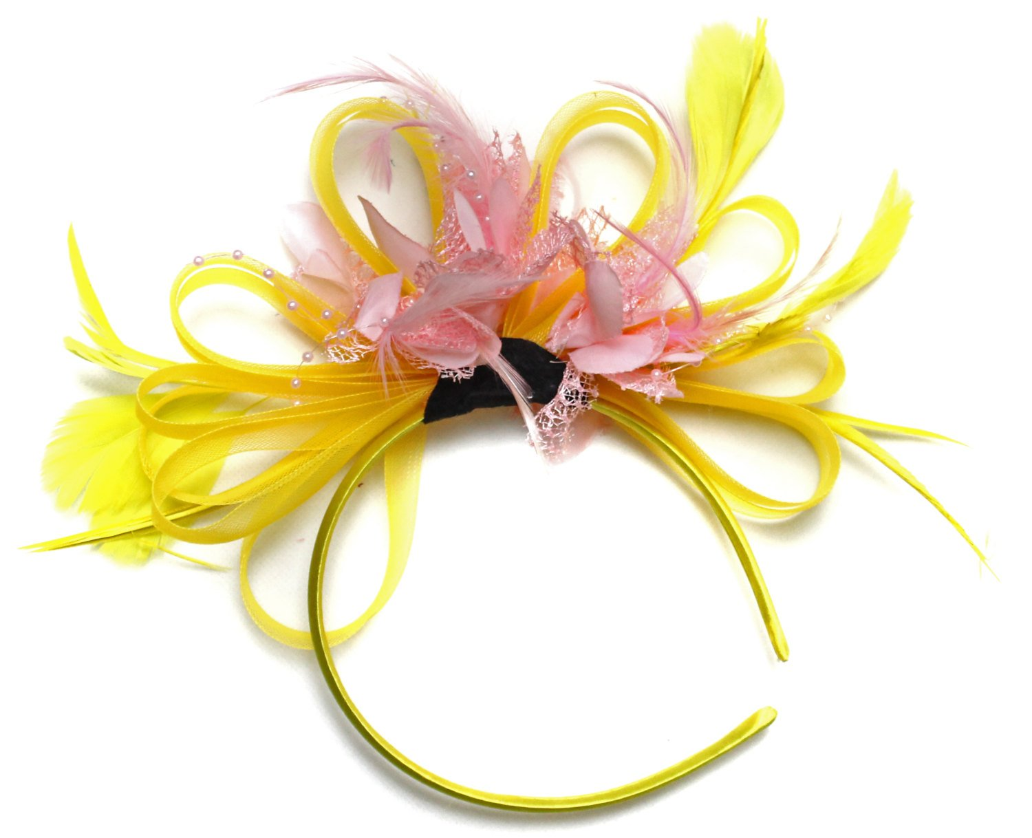 Caprilite Bright Yellow & Baby Pink Feathers Fascinator on Headband