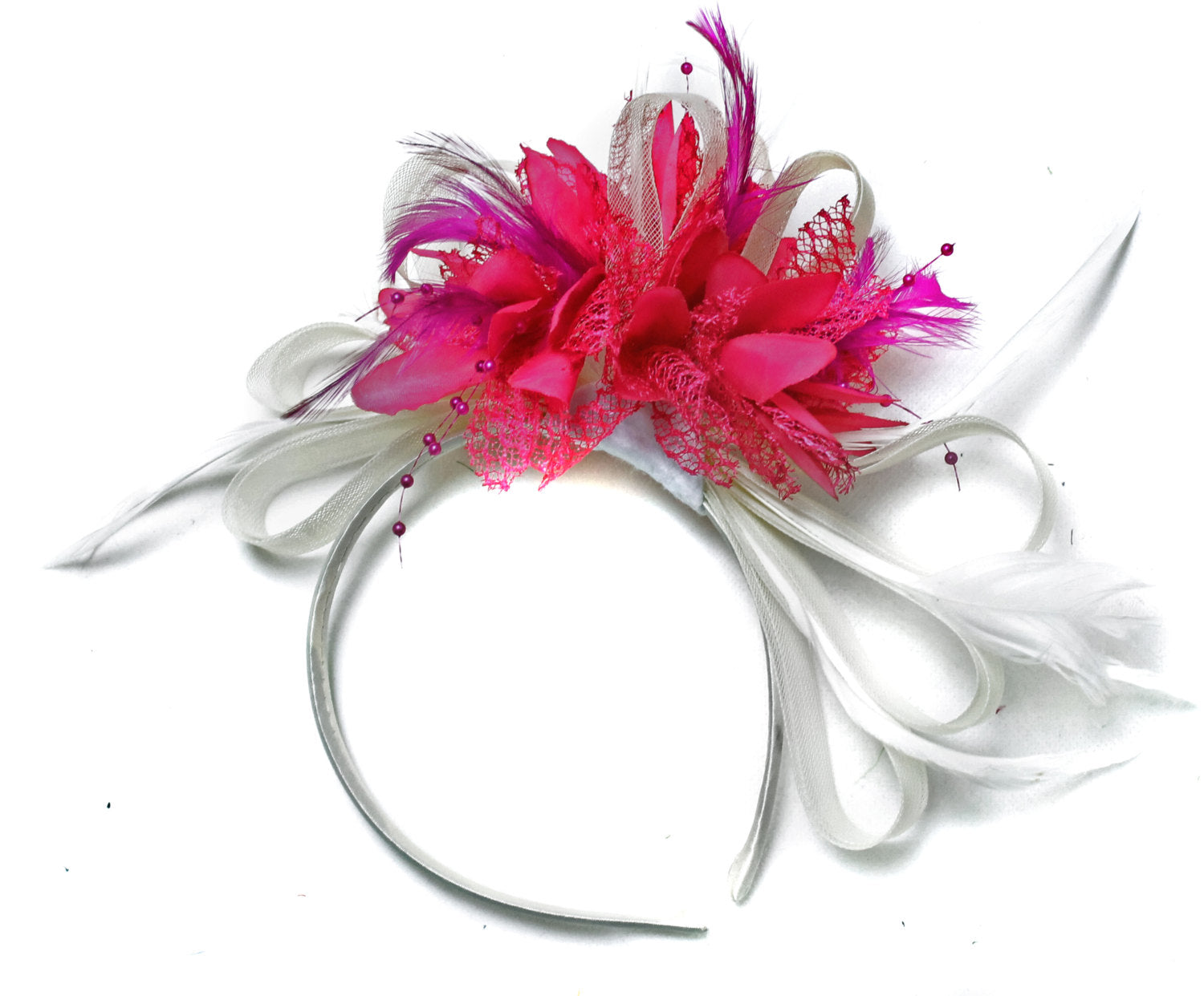 Caprilite White & Fuchsia Pink Feathers Fascinator on Headband
