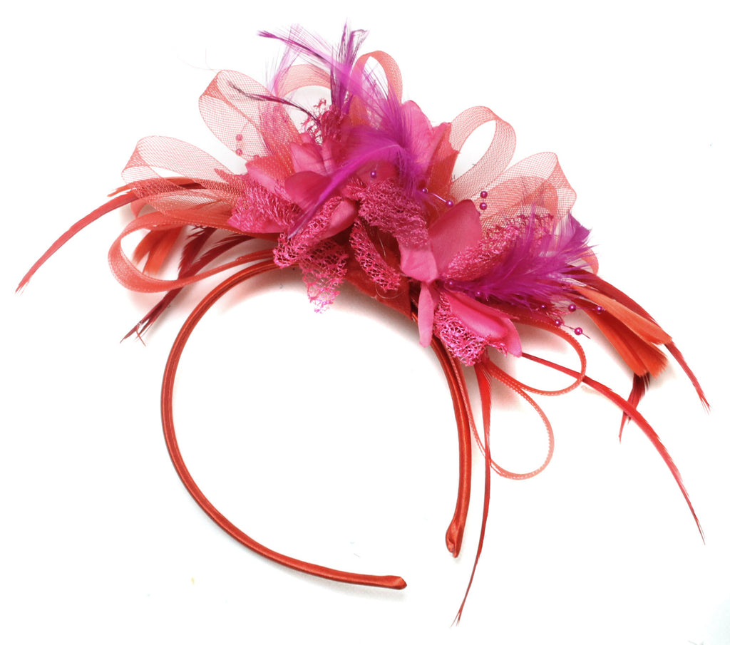 Caprilite Scarlet Red & Fuchsia Pink Fascinator on Headband