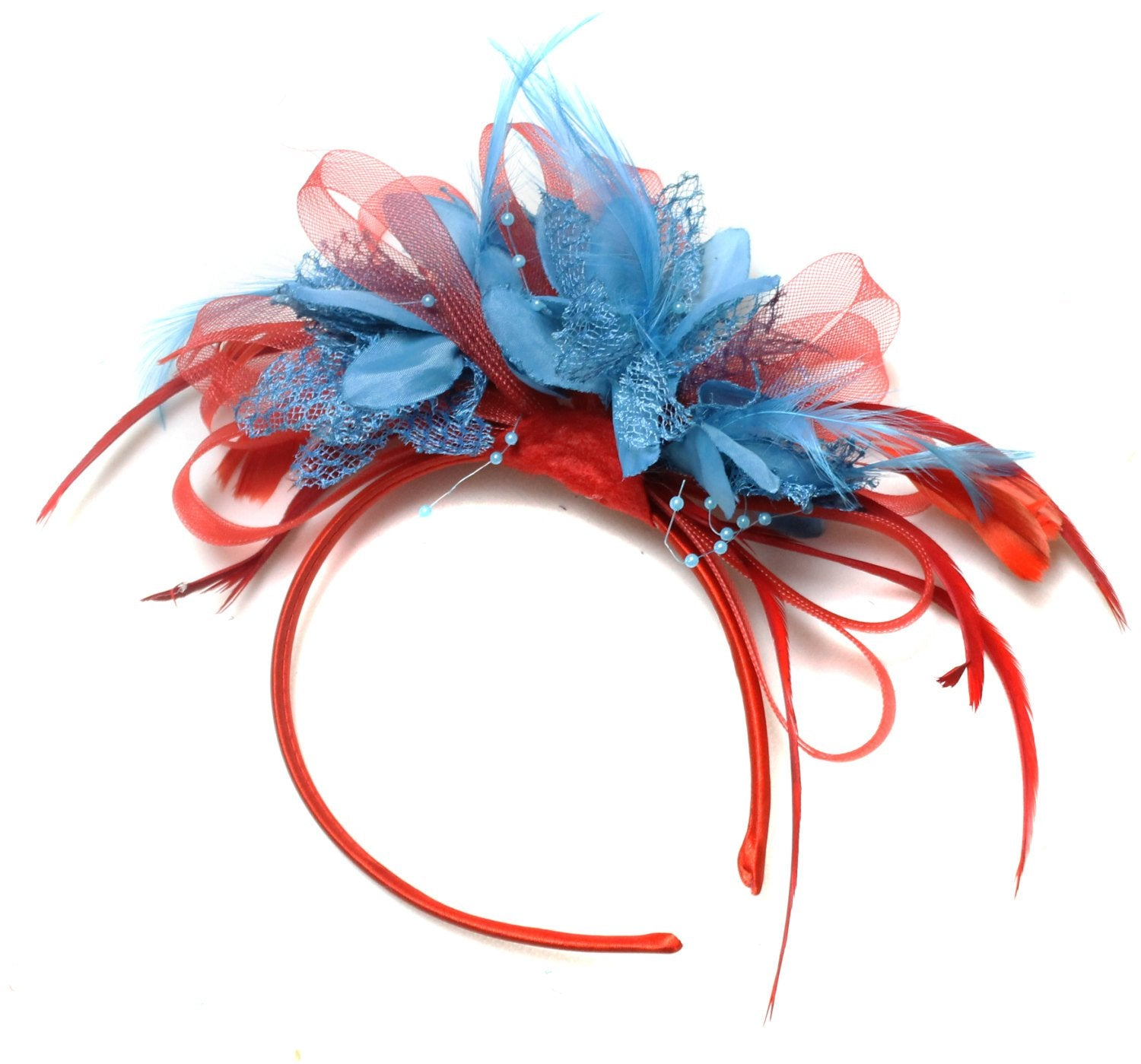 Caprilite Scarlet Red & Aqua Blue Fascinator on Headband
