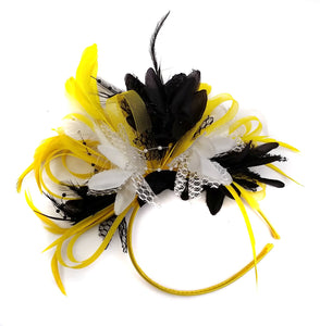 Caprilite Bright Yellow Black & White Feathers Fascinator on Headband