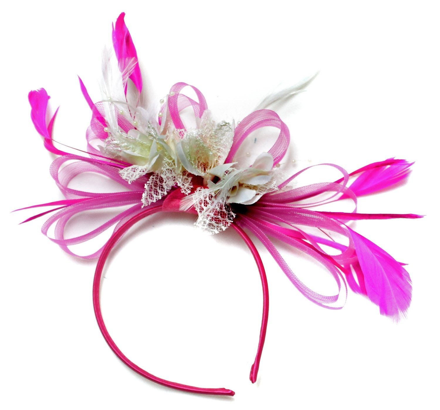 Caprilite Fuchsia Hot Pink & Crem Ivory Fascinator on Headband