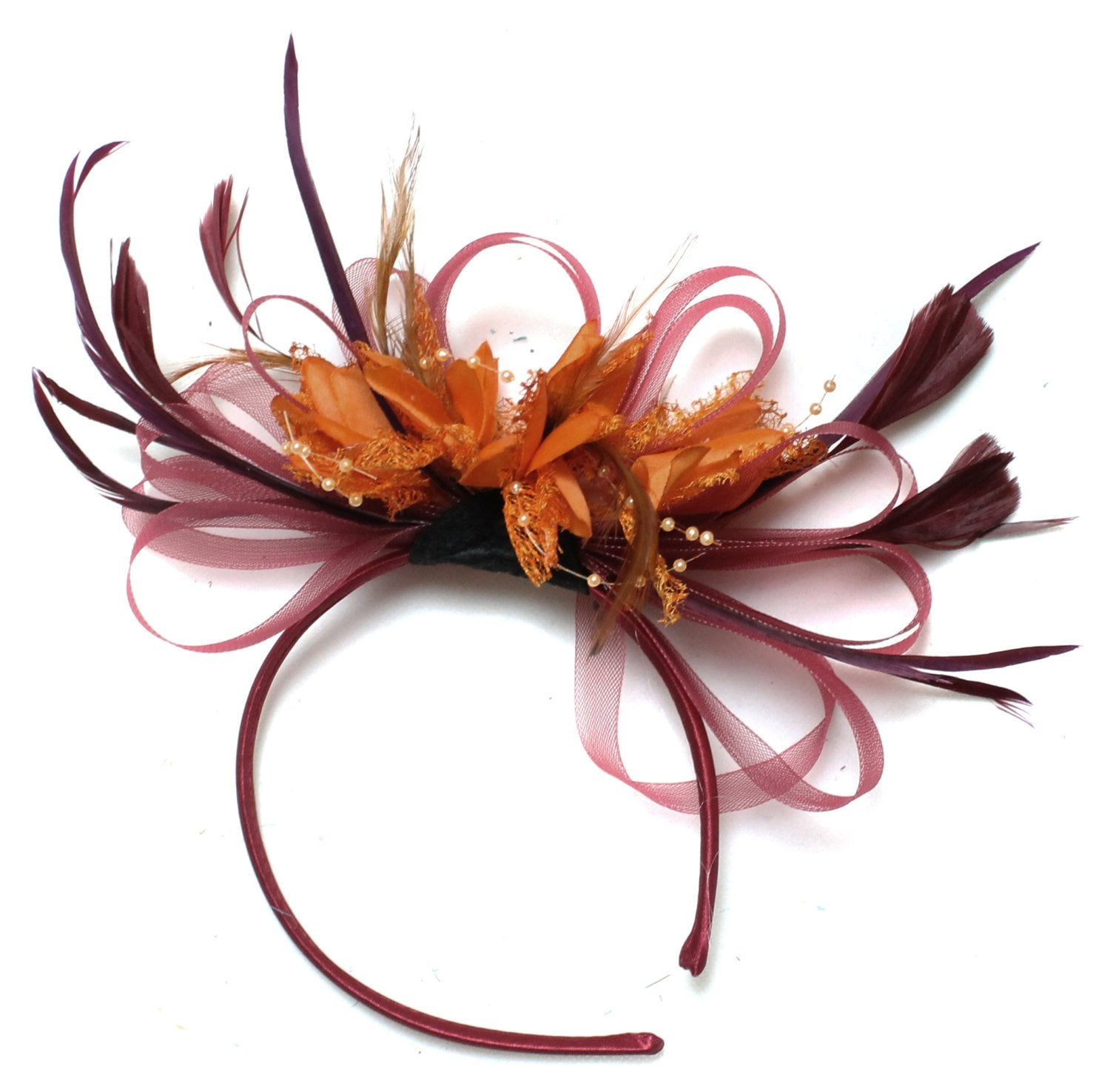 Caprilite Burgundy & Orange Fascinator on Headband