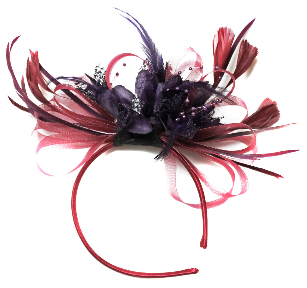 Caprilite Burgundy & Dark Purple Fascinator on Headband