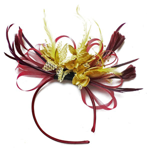 Caprilite Burgundy Wine Red & Gold Fascinator on Headband