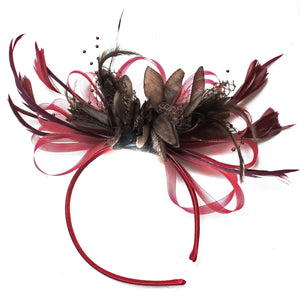 Caprilite Burgundy Wine Red & Coffee Brown Fascinator on Headband