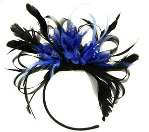 Caprilite Black Hoop & Royal Blue Fascinator on Headband