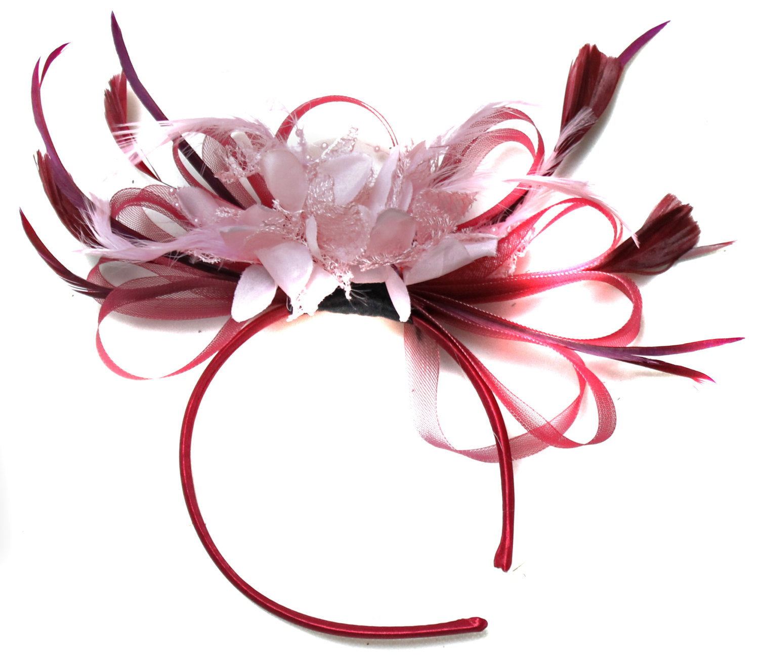 Caprilite Burgundy Wine Red & Baby Pink Fascinator on Headband