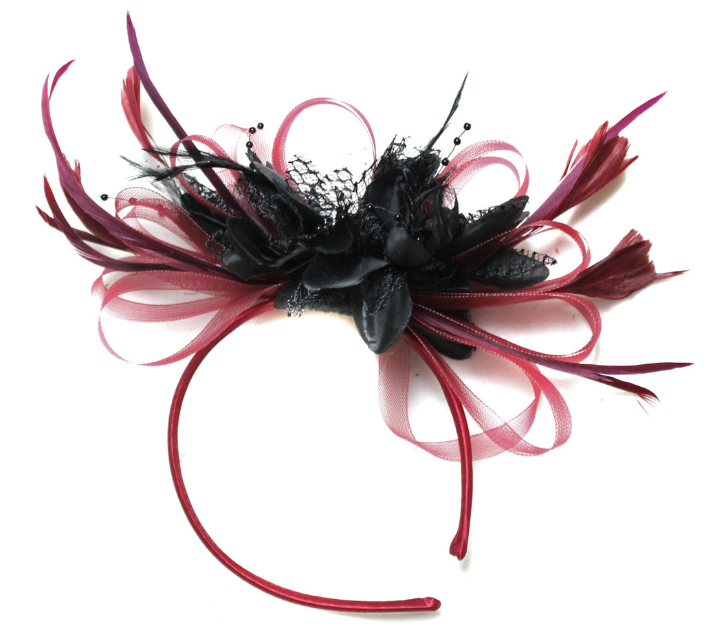 Caprilite Burgundy Wine Red & Black Fascinator on Headband