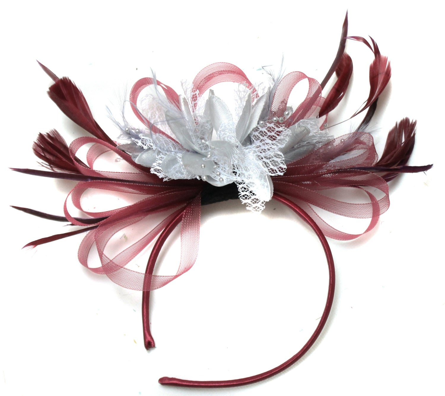 Caprilite Burgundy Wine Red & Silver Fascinator on Headband