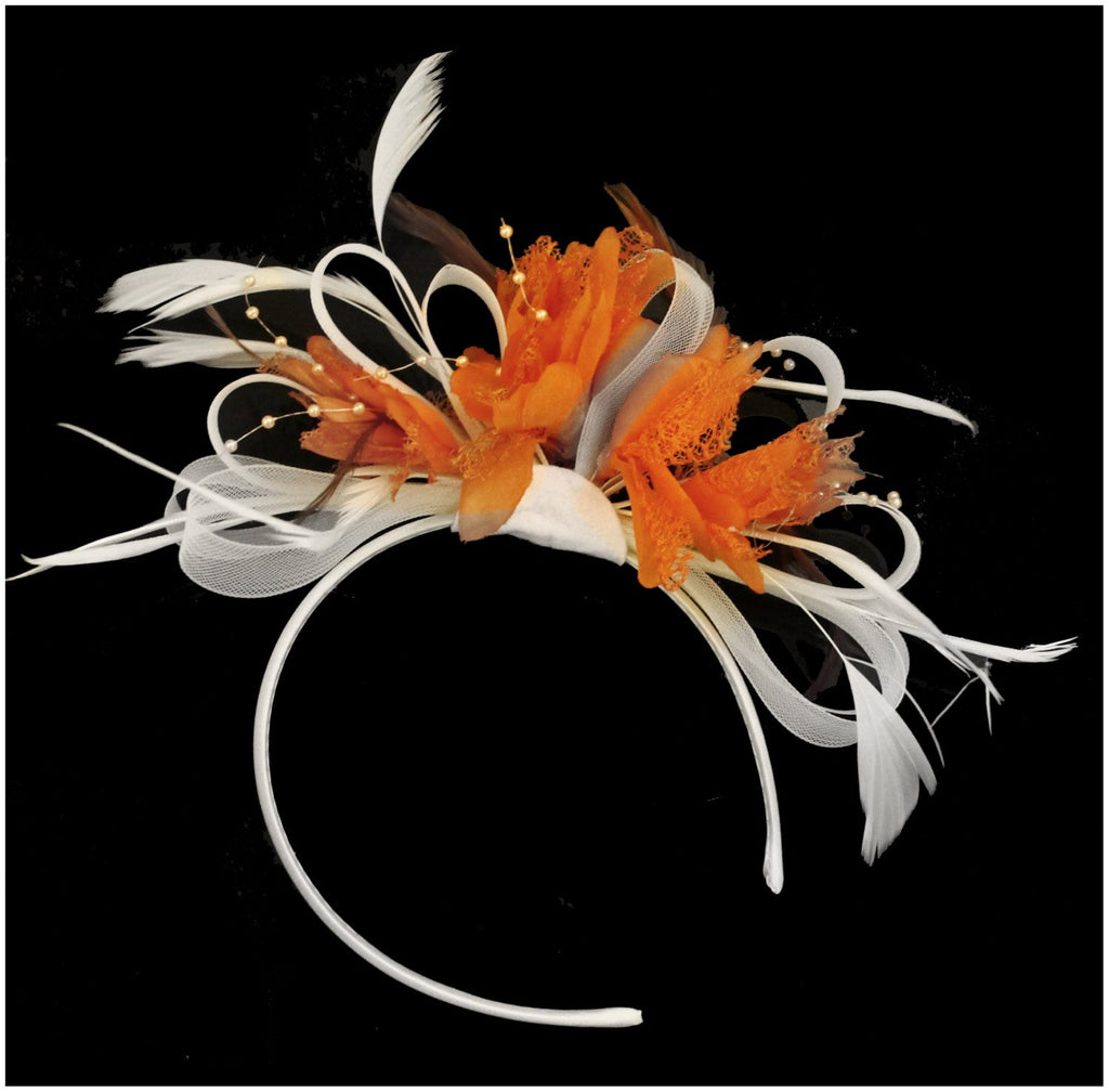 Caprilite White Hoop & Orange Feathers Fascinator on Headband