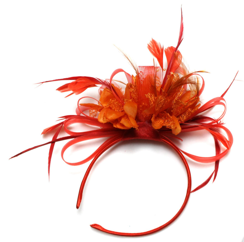 Caprilite Scarlet Red Hoop & Orange Feathers Fascinator on Headband