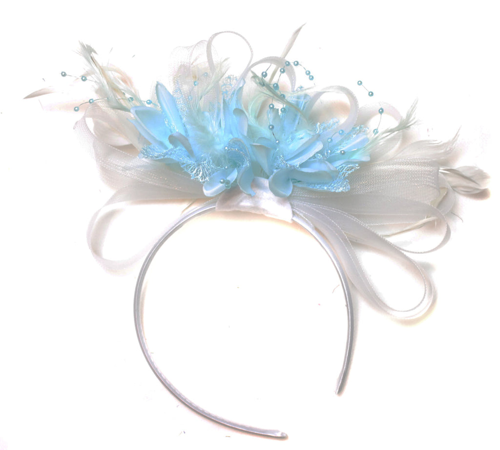 Caprilite White Hoop & Baby Sky Blue Feathers Fascinator Headband Ascot Wedding