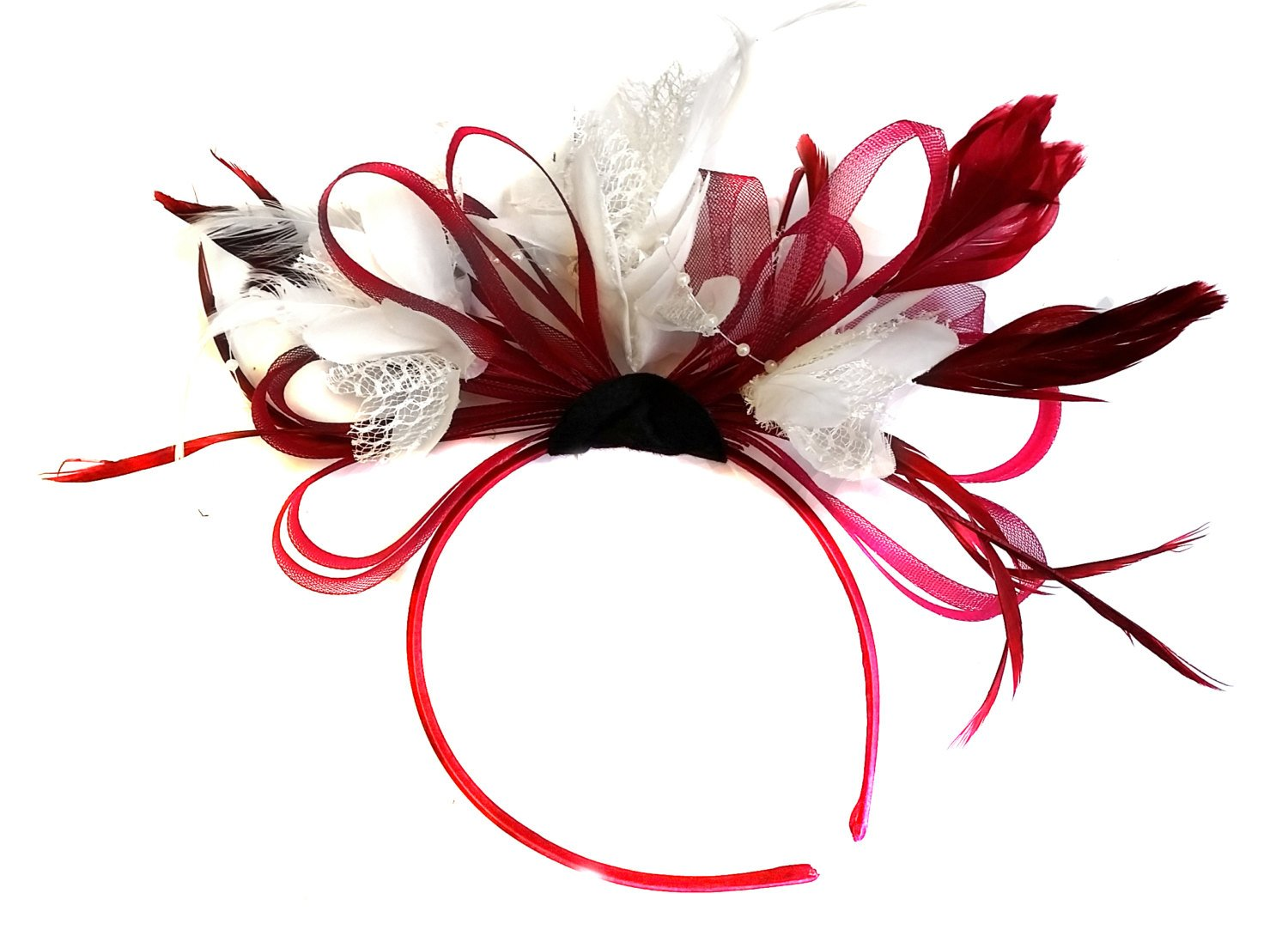Caprilite Burgundy Wine Red Hoop & White Feathers Fascinator on Headband