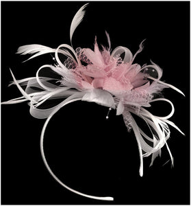 Caprilite White Hoop & Baby Pink Feathers Fascinator on Headband