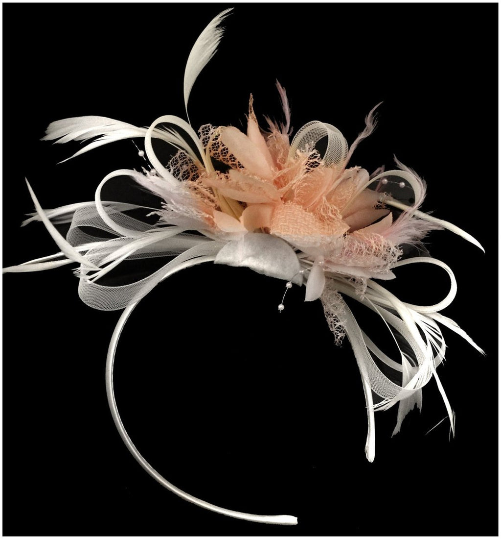Caprilite White Hoop & Peach Nude Pink Feathers Fascinator on Headband