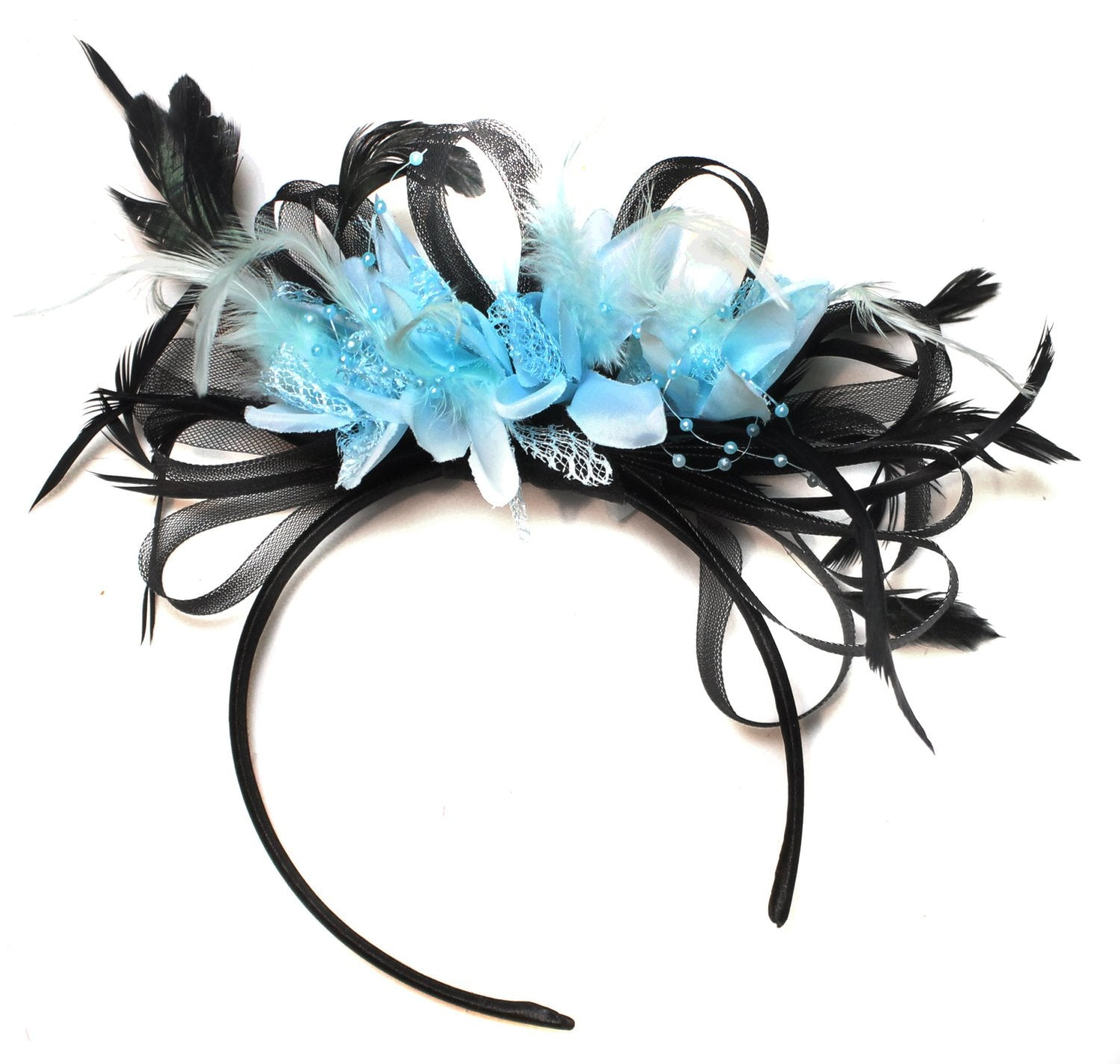 Caprilite Black Hoop & Baby Sky Blue Feathers Fascinator Headband Ascot Wedding