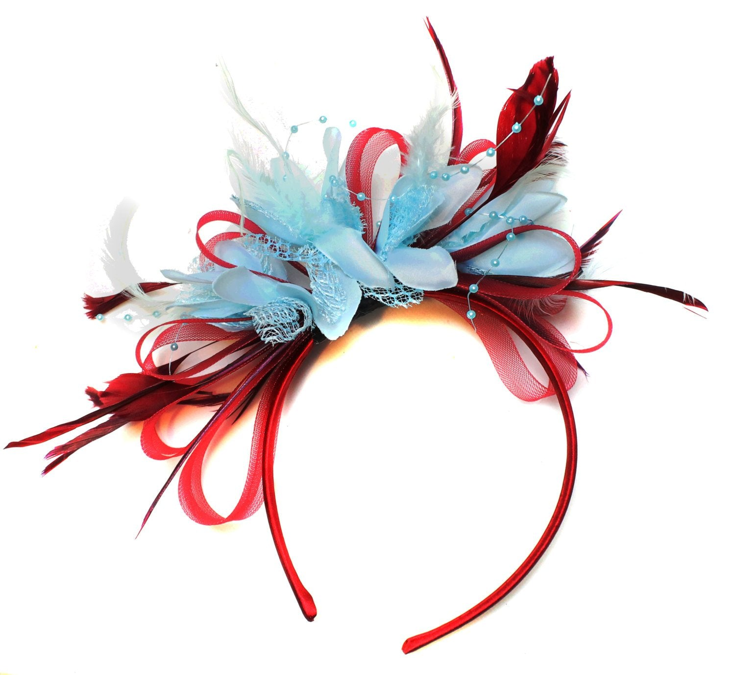 Caprilite Burgundy Wine Red Hoop & Baby Sky Blue Feathers Fascinator Headband Ascot Wedding