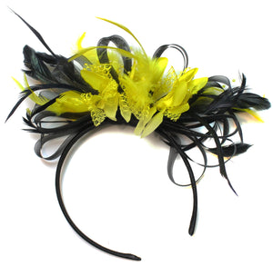 Caprilite Black Hoop & Bright Yellow Feathers Fascinator Headband Ascot Wedding