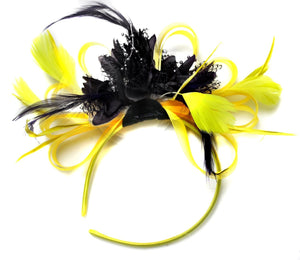 Caprilite Bright Yellow & Black Feathers Ascot Fascinator On Headband