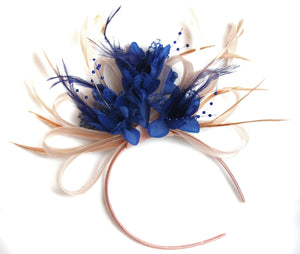 Caprilite Nude Salmon Pink and Royal Blue Fascinator on Headband Alice Band UK Wedding Ascot Races Loop
