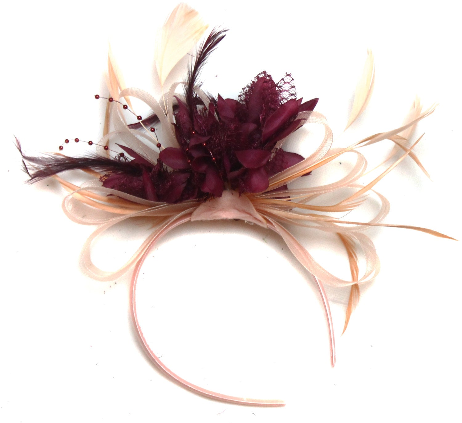 Caprilite Nude Salmon Pink and Burgundy Wine Fascinator on Headband Alice Band UK Wedding Ascot Races Loop