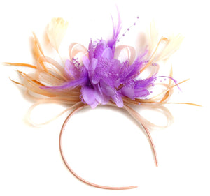 Caprilite Nude Salmon Pink and Lilac Fascinator on Headband Alice Band UK Wedding Ascot Races Loop