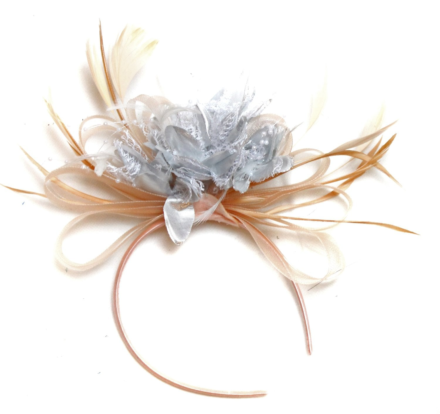 Caprilite Nude Salmon Pink and Silver on Headband Alice Band UK Wedding Ascot Races Loop