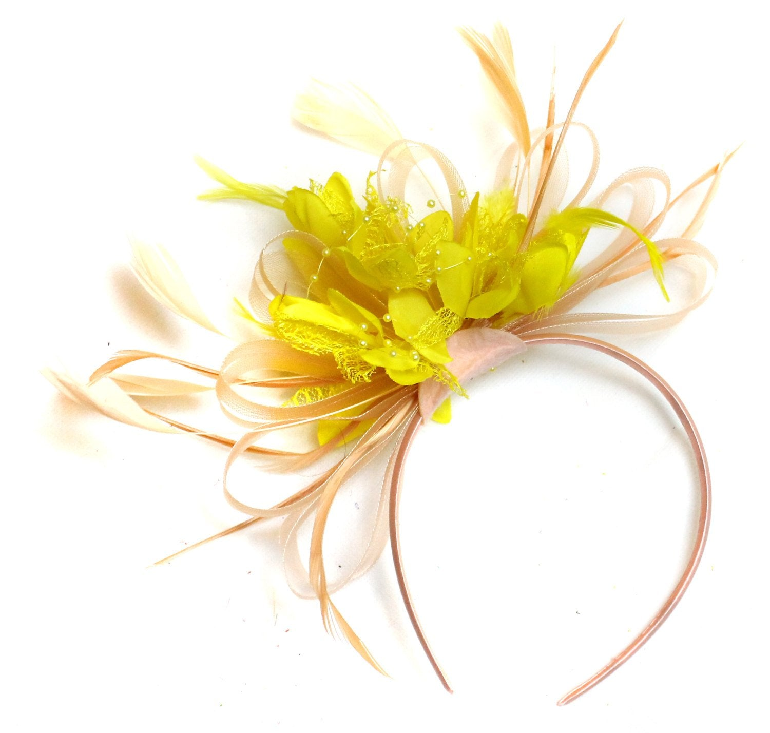 Caprilite Nude Salmon Pink and Yellow on Headband Alice Band UK Wedding Ascot Races Loop