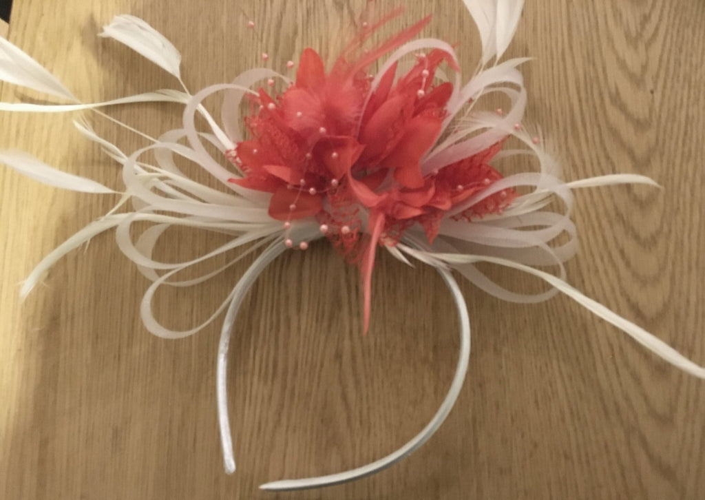 Caprilite White & Coral Fascinator on Headband for Weddings and Ascot Races