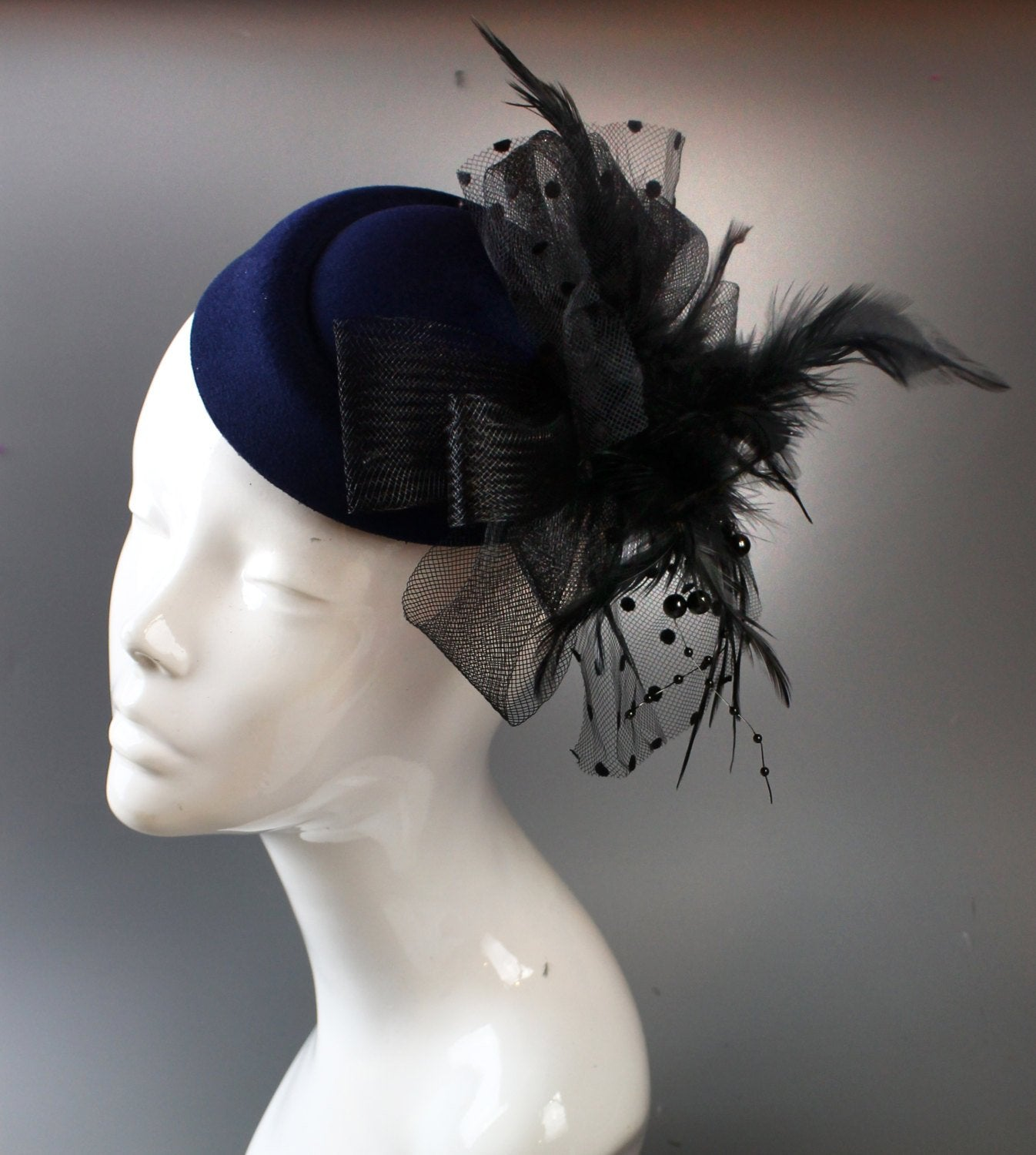 Caprilite Navy Blue & Black Pill-Box Hat Feathers Fascinator Hatinator on Clip for Ascot Races Weddings