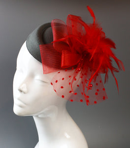 Caprilite Grey and Red Fascinator Hat Pill Box Veil Hatinator UK Wedding Ascot Races Clip Felt