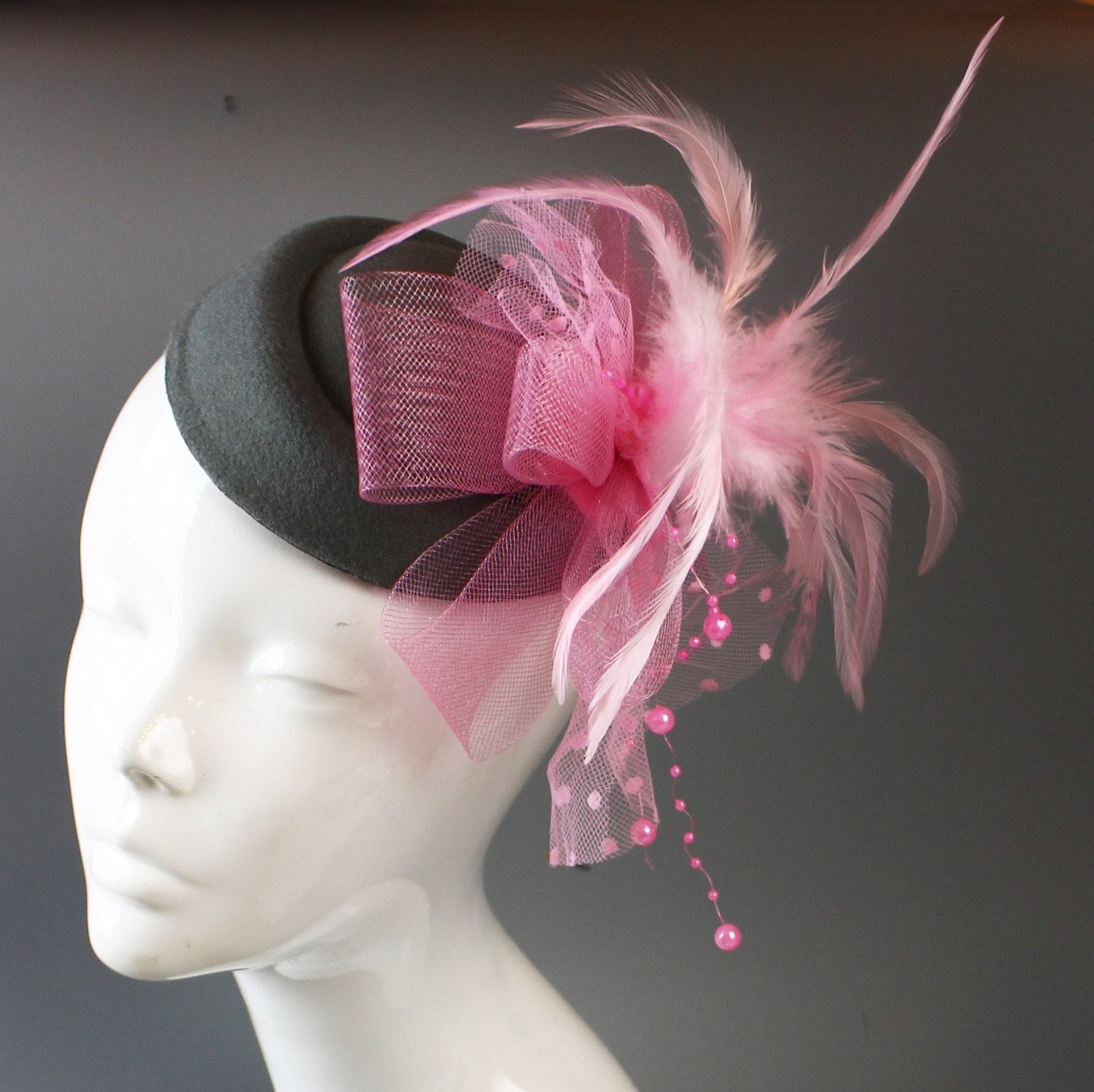 Caprilite Grey and Baby Pink Fascinator Hat Pill Box Veil Hatinator UK Wedding Ascot Races Clip Felt