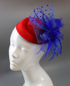 Caprilite Bright Rose Red and Royal Blue Fascinator Hat Pill Box Veil Hatinator UK Wedding Ascot Races  Clip Felt