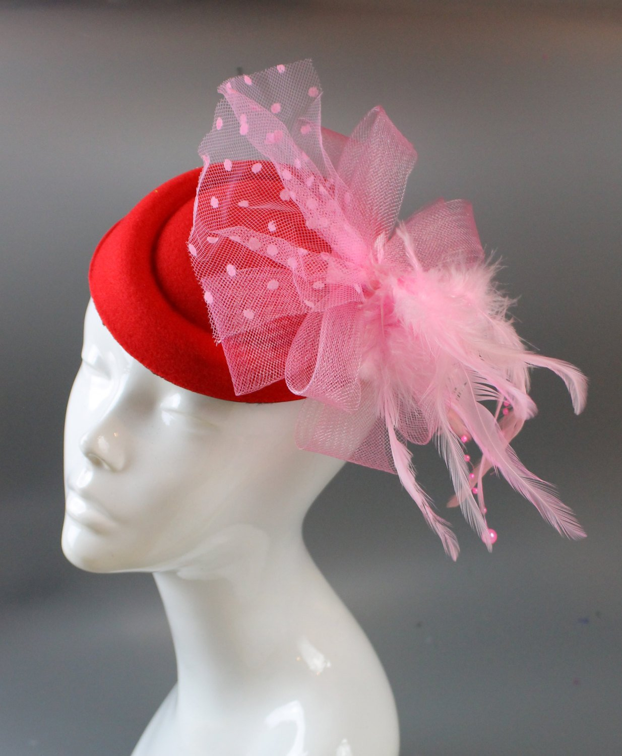 Caprilite Bright Rose Red and Baby Pink Fascinator Hat Pill Box Veil Hatinator UK Wedding Ascot Races  Clip Felt