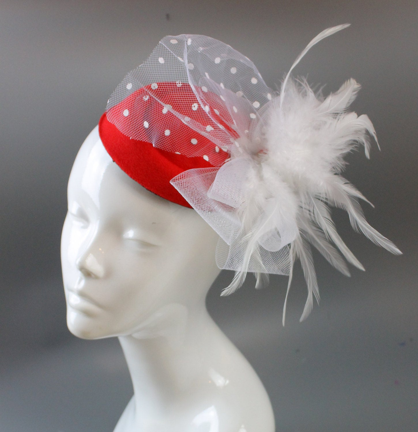 Caprilite Bright Rose Red and White Fascinator Hat Pill Box Veil Hatinator UK Wedding Ascot Races  Clip Felt