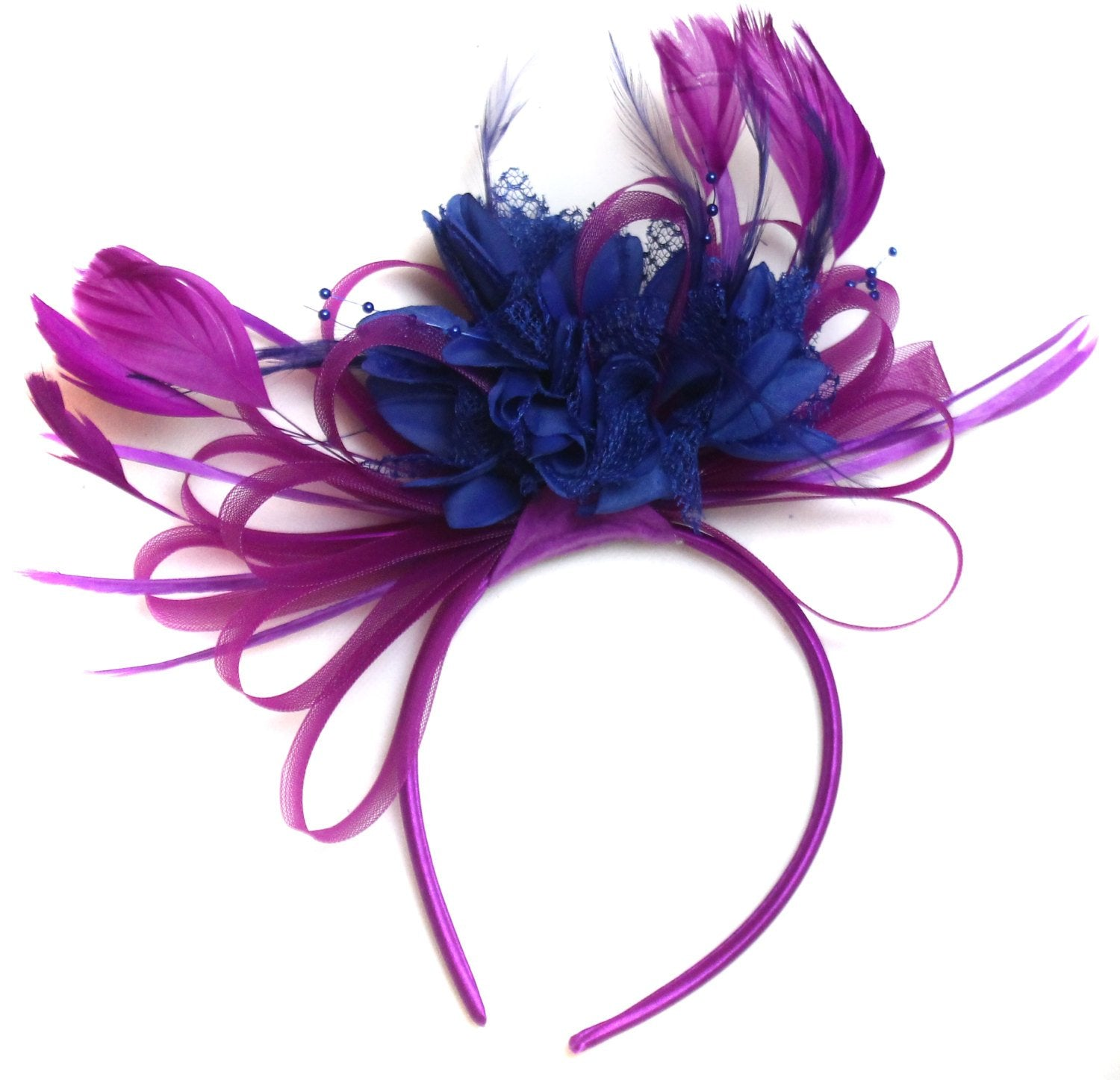 Caprilite Plum Magenta and Royal Blue Fascinator on Headband Alice Band UK Wedding Ascot Races Loop