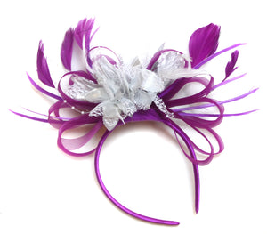 Caprilite Plum Magenta and Silver Fascinator on Headband Alice Band UK Wedding Ascot Races Loop