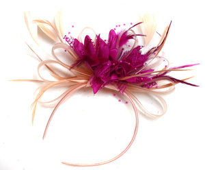 Caprilite Nude Salmon Pink and Fuchsia Hot pink Fascinator on Headband Alice Band UK Wedding Ascot Races Loop
