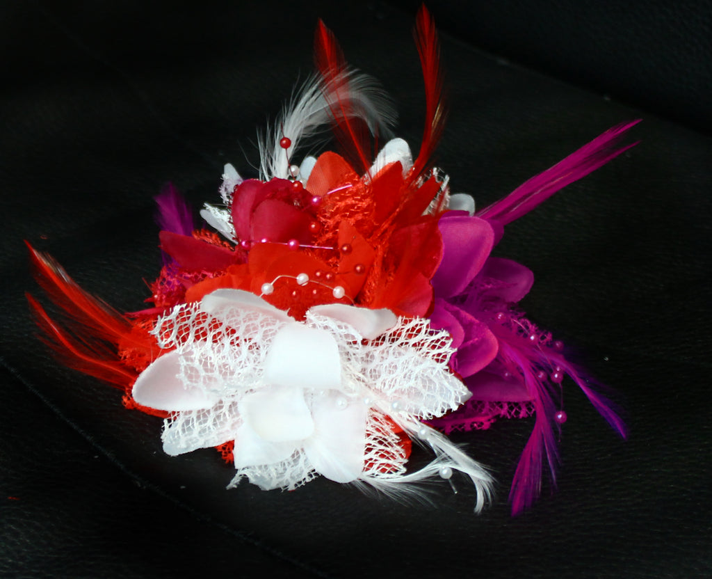 Red Fuchsia and White Flower Fascinator on Clip