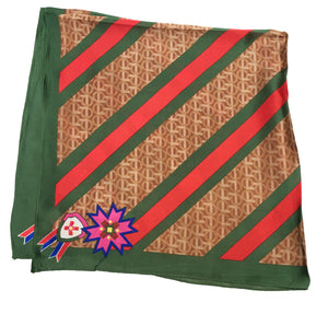 70cm x 70cm Square Scarf Green Brown Monogram Scarf Thin Silky Womens Summer Spring
