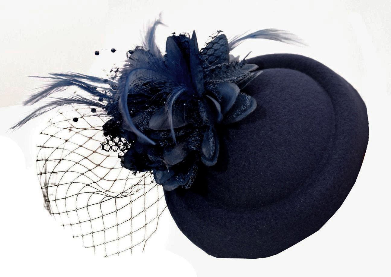 Dark Navy Blue Felt Pillbox Veil Wedding Fascinator Clip