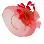 Scarlet red fascinator for weddings and races UK next