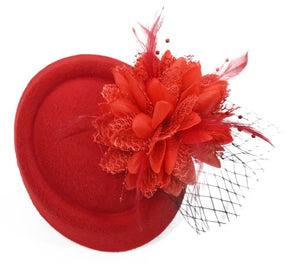 Scarlet Red fascinator hat pillbox black veil on clips for weddings and ascot races