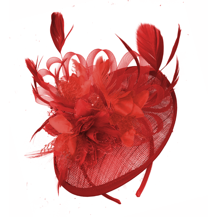 Scarlet Red Sinamay Flower Disc Saucer Fascinator Hat for Weddings Ascot Races Derby UK Caprilite